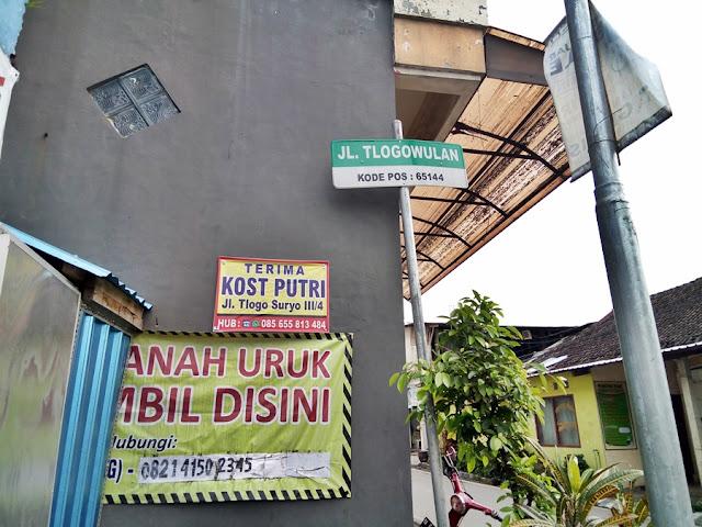 Jalan Tlogowulan Tlogomas Malang