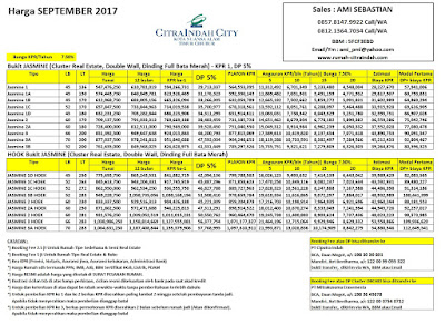 Harga Bukit JASMINE Citra Indah City September 2017