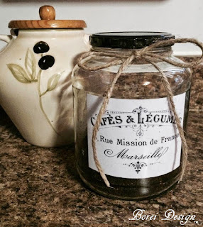 DIY craft tutorial French coffee storage from upcycled pickle jar