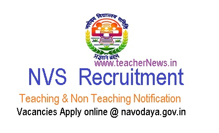 NVS Teachers Recruitment 2019 - 251 Vacancies Apply online @ navodaya.gov.in