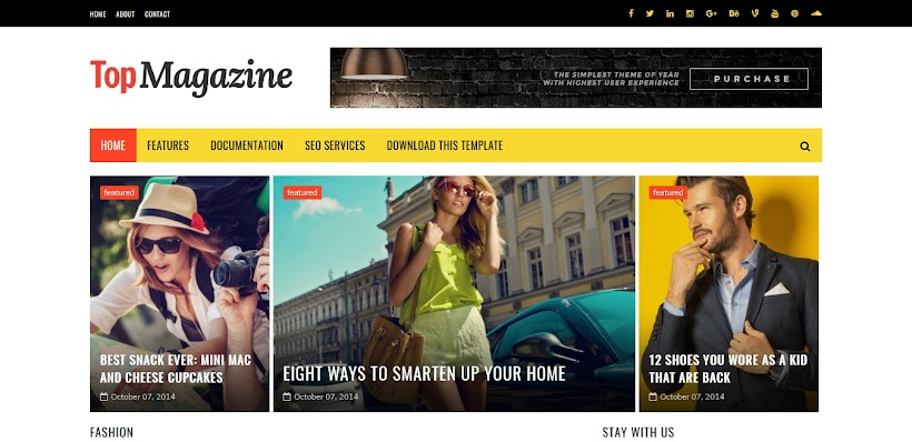Top Magazine Free Blogger Template