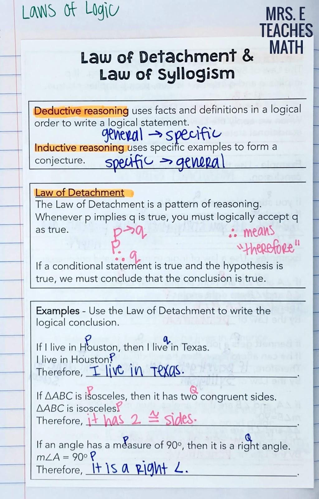 Logic Inb Pages Mrs E Teaches Math