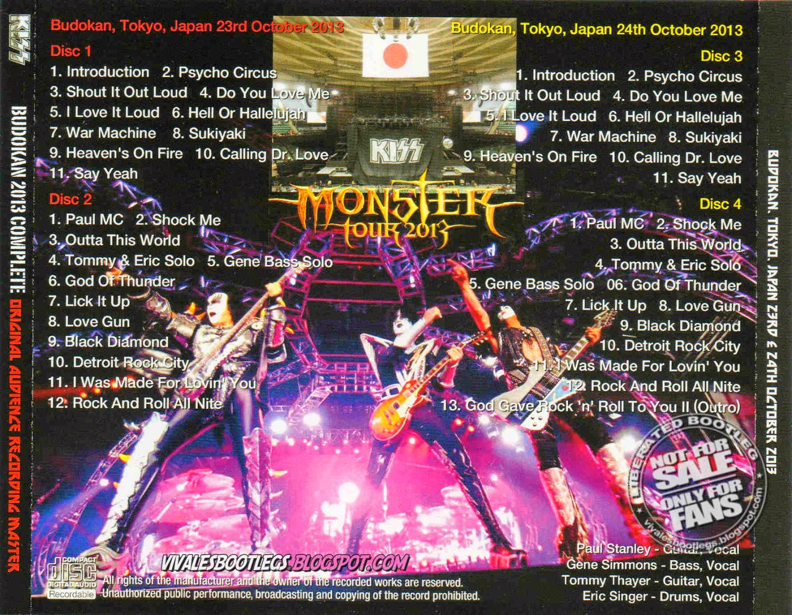 kiss budokan 2013 complete  back cover
