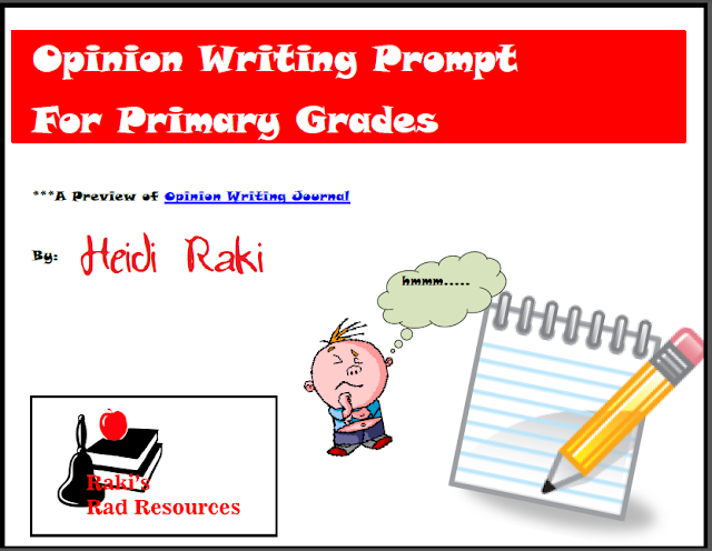 Free writing prompt for opinion writing in the primary grades - from Raki's Rad Resources