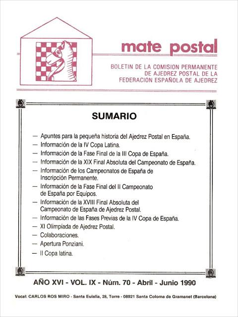 Mate Postal Nº70-Abril-Junio-1990