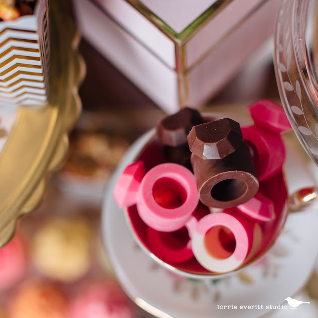 DIY chocolate rings using a ring shaped ice cube tray and melted chocolate in the colours and flavours of your choice. | Lorrie Everitt Studio