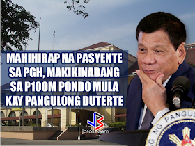 """Known to be a President with a soft spot for the  poor and those who are in the lace of society, President Rodrigo Duterte has once again proved it when he allocated P100 million to fund the hospitalization of the poor patients at the state-owned Philippine General Hospital (PGH). The President turned over the check to PGH Director Dr. Gerardo Legaspi during a meeting in Malacañang on March 7, 2017.   In a statement released by Radio Television  Network Malacañang, it says that the said fund will be allocated for the underprivileged patients who cannot afford medical procedures and treatments.      The President has shown his soft spot for the poor after giving P2 billion from PAGCOR, to  the Department of Health  to be used for   the free medical assistance to the public.  Present during the meeting with the President were PGH Director Gerardo Legazpi,  Dr. Ireneo Quiron of the PGH Fiscal Services, Deputy Executive Secretary for Finance and Administration Rizalina Justol, and Special Assistant to the President (SAP) Christopher 'Bong' Go.  Recommended:   The President assures that he will bring 250 stranded OFWs from Saudi Arabia with him when he returned to the Philippines after a series of visit in the Middle East. During his speech in Davao before his departure, he said that God-willing, he will bring some OFWs in death row with him when he return to the country. During his speech in front of the Filipino Community in Riyadh , Saudi Arabia, President Duterte said that he will be bringing home the first batch of 250 OFWs who had been stranded in Saudi Arabia for a very long time, and they will continue to do it. """"We are arranging for the transportation of 250 OFWs who hopefully be back to the Philippines in time for the return of President Rodrigo Duterte.., """" DOLE Secretary Silvestre Bello III said. Secretary Bello also added that since the announcement of the Saudi Crown Prince Deputy Prime Minister and the Minister of Interior Prince Mohammed bin Naif Al Saud """