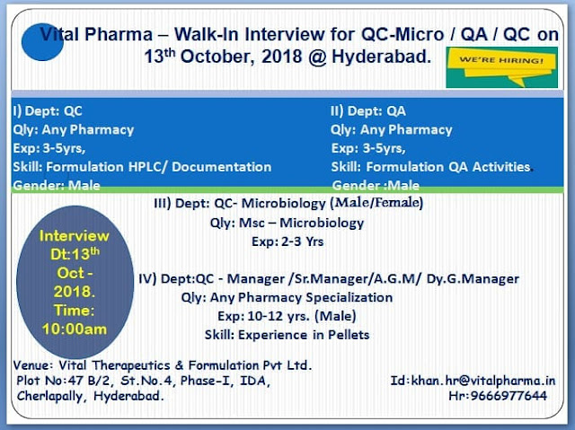 Vital Pharma Walk In Interview for Quality Assurance, Quality Control at 13 October