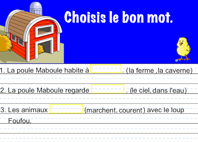 Interactive SMART Notebook Activities - La poule Maboule - choisis le bon mot