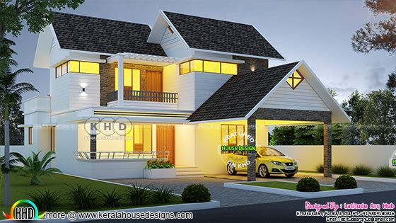 Superb 3 bedroom modern double storied house plan