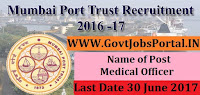 Mumbai Port Trust Recruitment 2017–Medical Officer