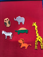 flannel elephant, owl, turtle, zebra, lion, giraffe