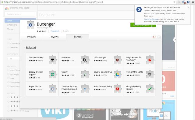 Buxenger extension chrome app added