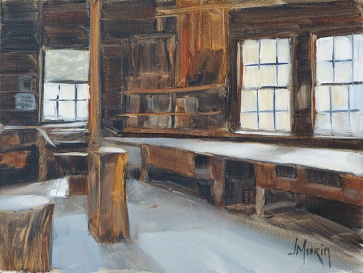 Johanne Morin's Art in the Making: The Empty Workshop, Acrylic, 9 x 12""