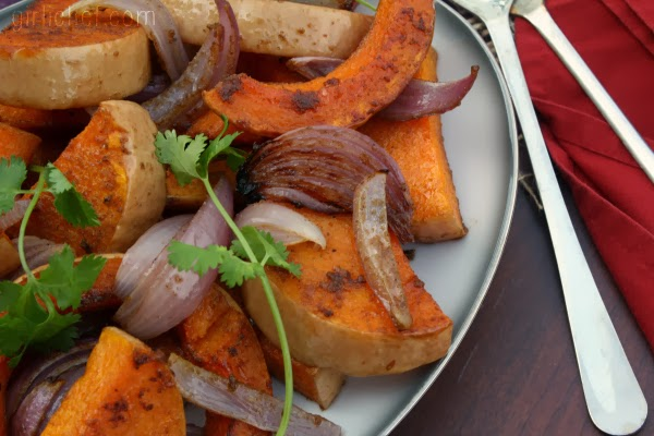Spiced Butternut Squash w/ Red Onion {#12WksWinterSquash} | www.girlichef.com