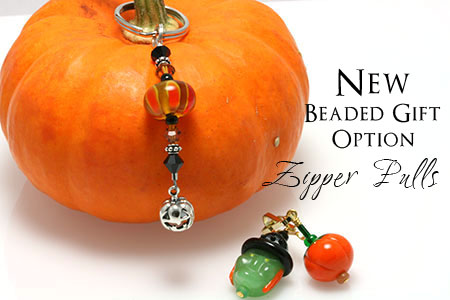 Beaded Pumpkin Key Chains and Halloween Zipper Pulls by Crystal Allure Beaded Jewelry