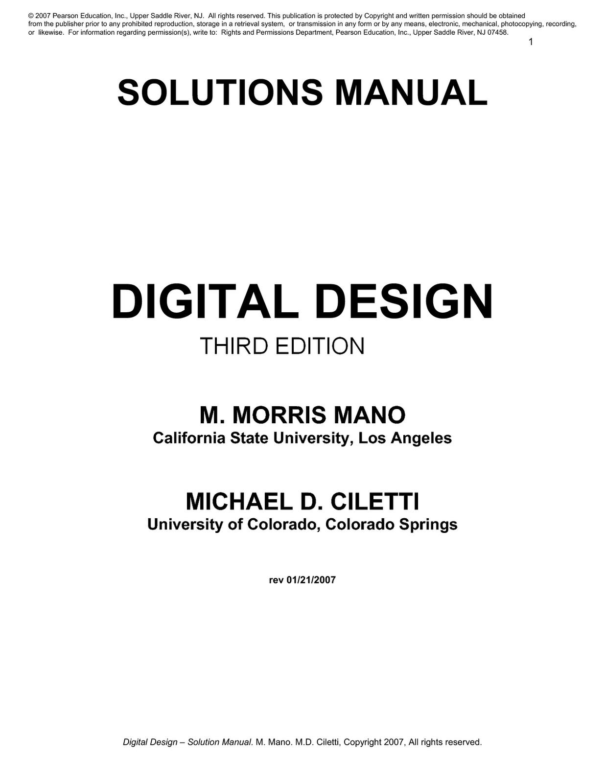 Digital Design by M. Morris Mano - 4th Edition - Solution Manual