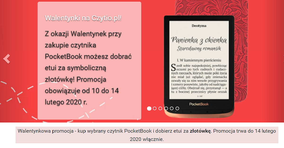 Walentynkowa promocja w czytio.pl. Zamów czytnik, a etui dostaniesz za 1 zł