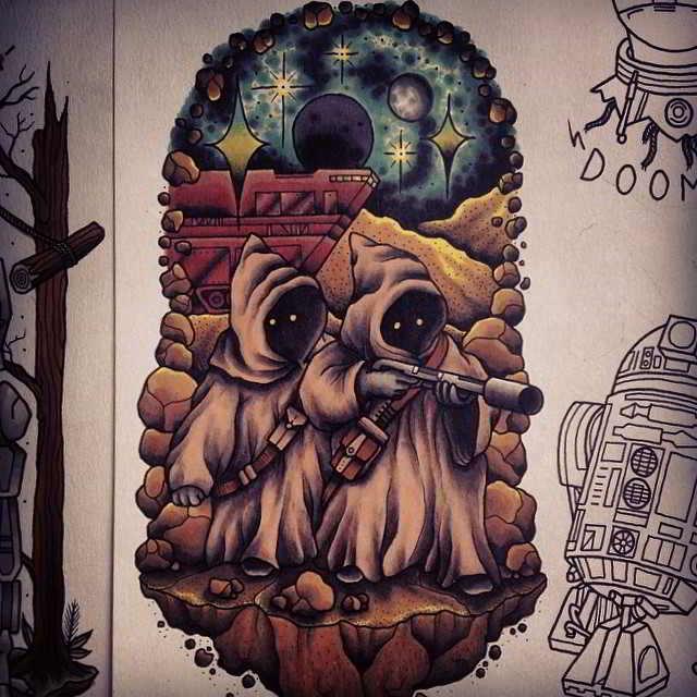 Un diseño de tatuaje retro años 80