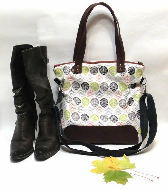 Женская сумка шоппер - ручная работа, хлопок канвас и натуральная кожа. Доставка почтой или курьером