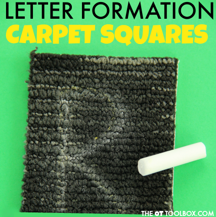 Use carpet squares to work on letter formation and motor planning in handwriting