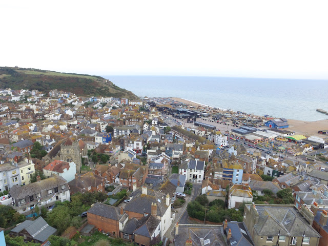 The drone view over Hastings old town from Castle Hill