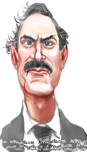 John Cleese caricature cartoon. Portrait drawing by caricaturist Artmagenta