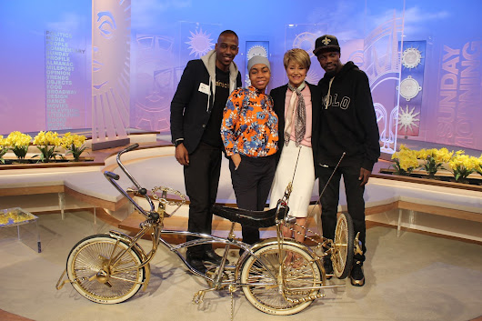 CBS SUNDAY MORNING FEATURES URBAN FASHION SENSE CLIENT JEFF 2 DA LEFT FOR LOWRIDER BIKE 'LATINO STREET LIFE ON WHEELS' SEGMENT