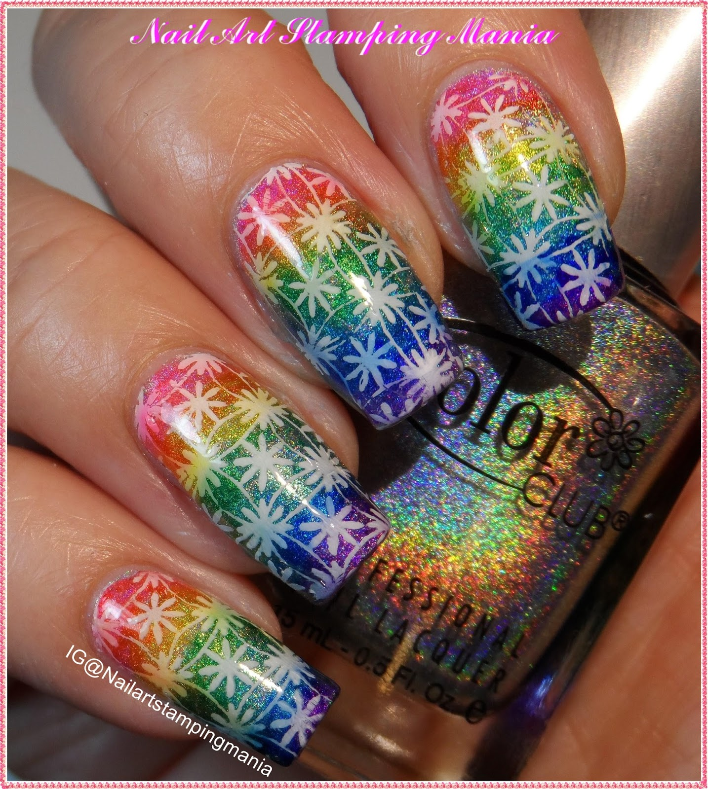 Nail Art Stamping Mania: Rainbow Manicure With Acrylic Stamping ...