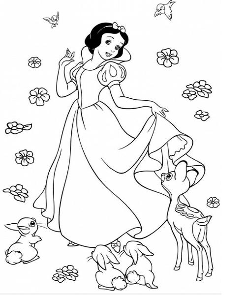 50 Tranh Tô Màu Công Chúa Bạch Tuyết Elsa Tóc Mây Cho Bé Gái