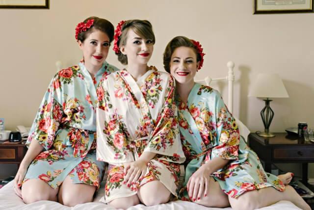 Vintage inspired wedding bridal prep floral kimonos
