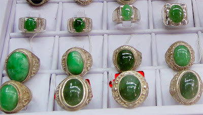 Green Jade Cabochon Rings in silver and gold setting