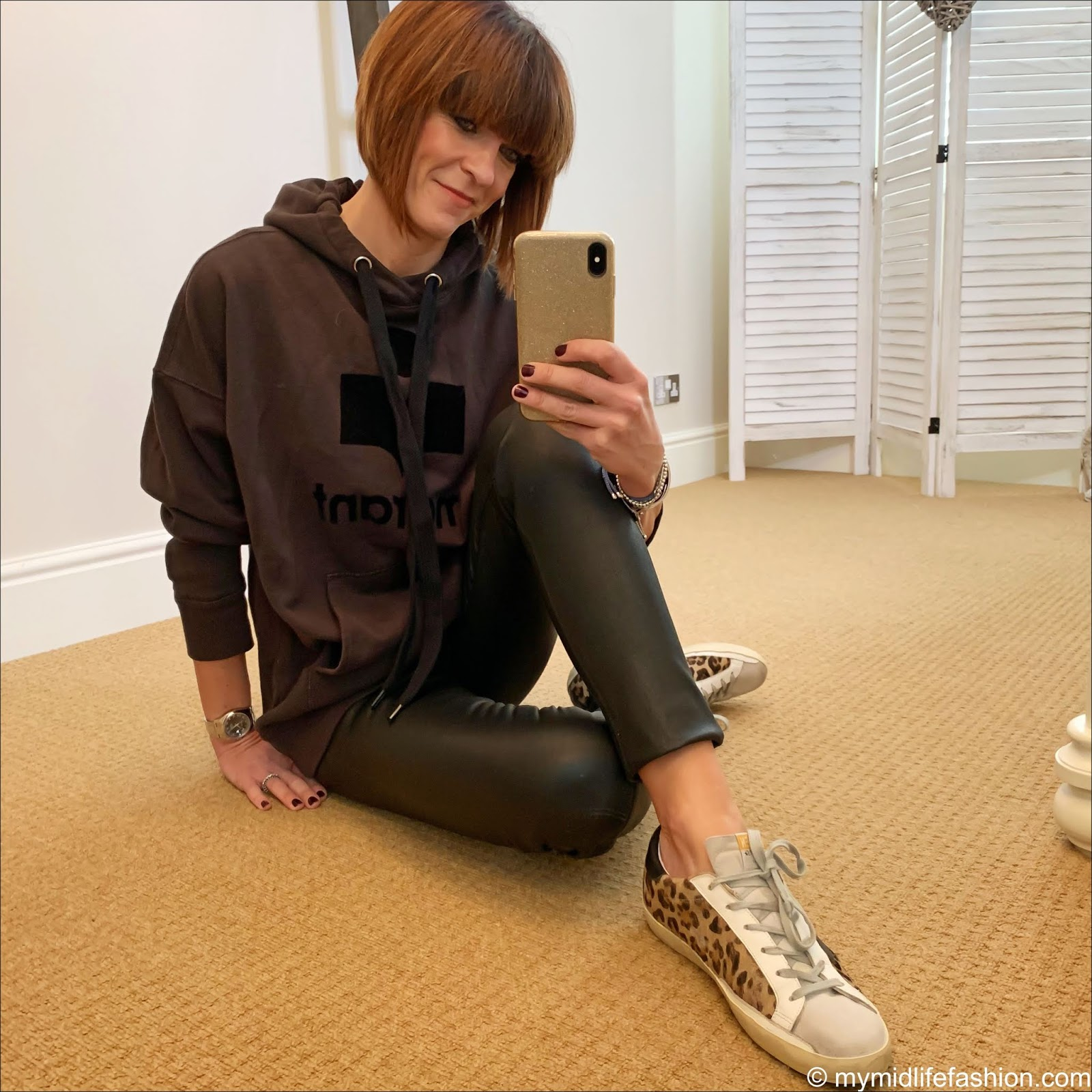 my midlife fashion, isabel marant hoodie sweater, hush leather leggings, golden goose superstar low top leather leopard print trainers