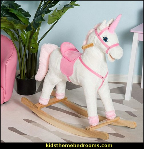 Plush Unicorn Rocking Horse Toy With Realistic Sounds  unicorn bedding - unicorn decor - unicorn bedroom ideas - unicorns - Unicorn & Rainbows bedrooms -  unicorn duvet - fantasy theme bedroom decorating ideas - fairytale bedrooms decor - pegasus decor - unicorn wall murals - Unicorn bedroom decor - unicorn wall decals - unicorn baby bedrooms - unicorn baby girl bedroom - unicorn crib bedding - unicorn gifts