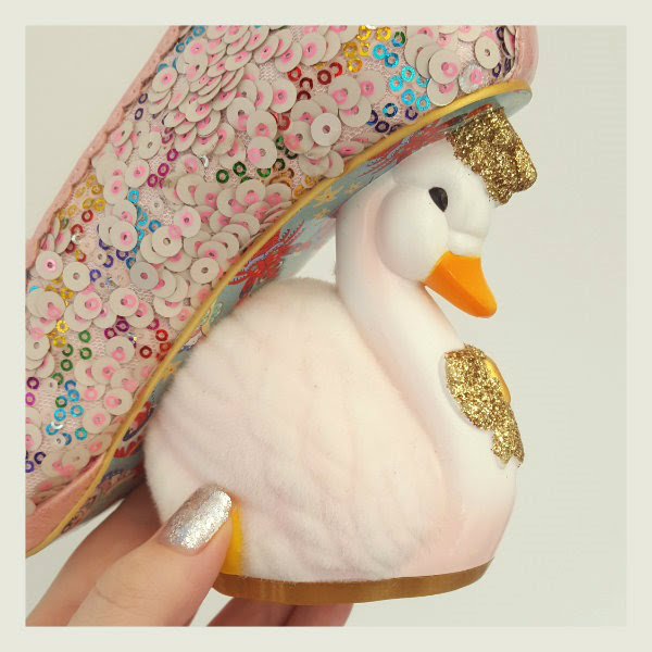 irregular choice flocked swan heel