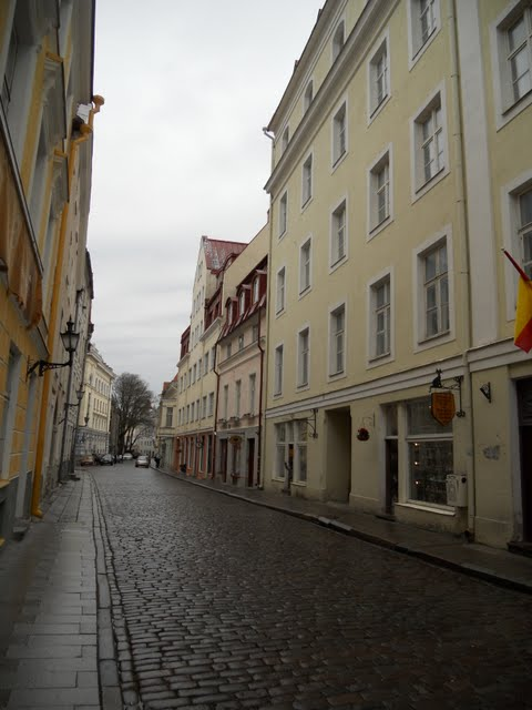 Rainy cobbled street in Tallinn, Estonia
