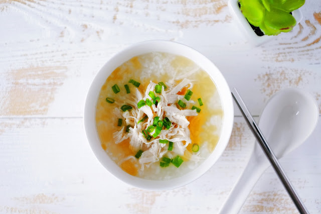 Chinese Shredded Chicken Porridge with spring onions and sesame oil