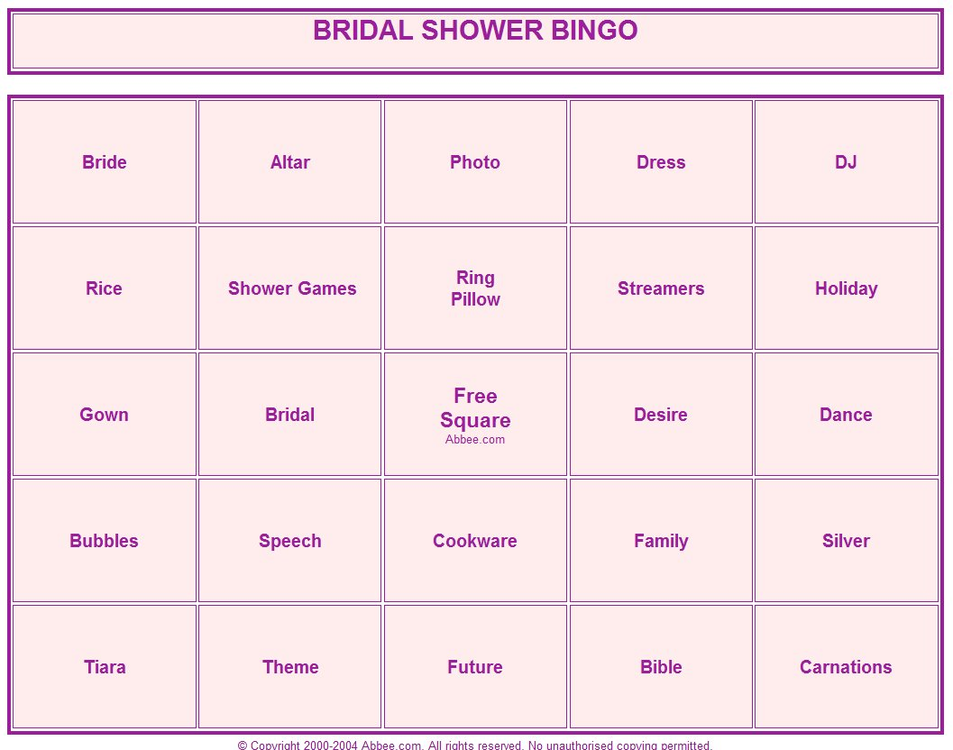 Coloring Amp Activity Pages Bridal Shower Bingo