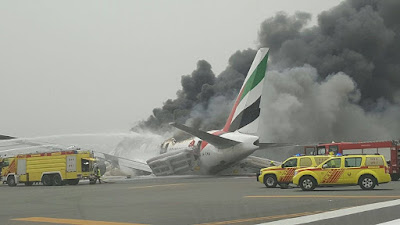 Emirates flight EK521, a Boeing (NYSE:BA) 777-300, crash-landed and caught fire at Dubai International Airport (DXB)
