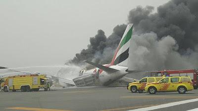 Emirates flight EK521, a Boeing (NYSE:BA) 777-300, crash-landed and caught fire at Dubai International Airport (DXB)