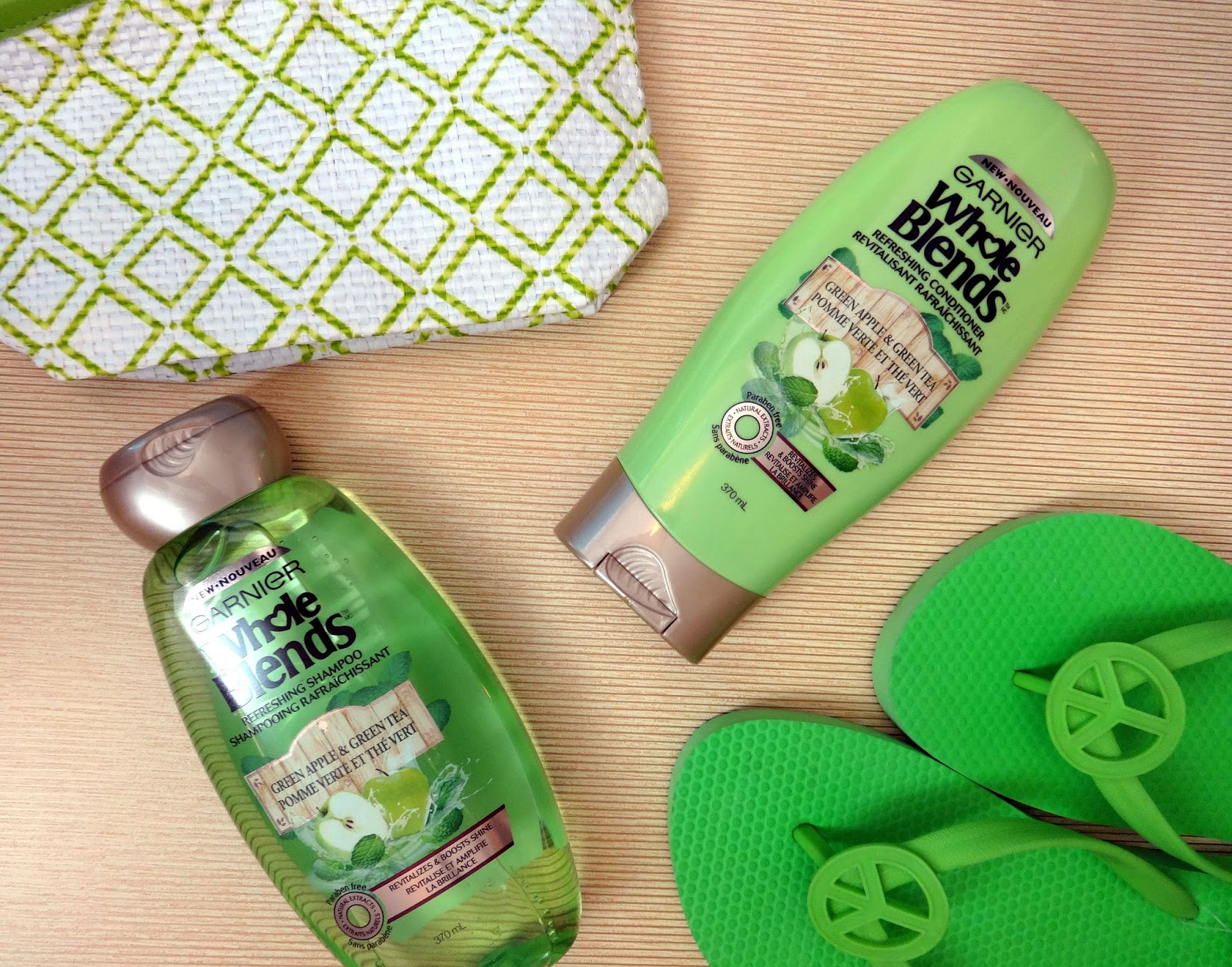 Garnier Whole Blends Green Apple and Green Tea Shampoo and Conditioner Review