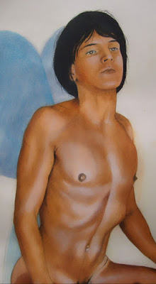 garçon nu,dessin,esquisse,crayons de couleur,étude,aquarelle,icare,détail