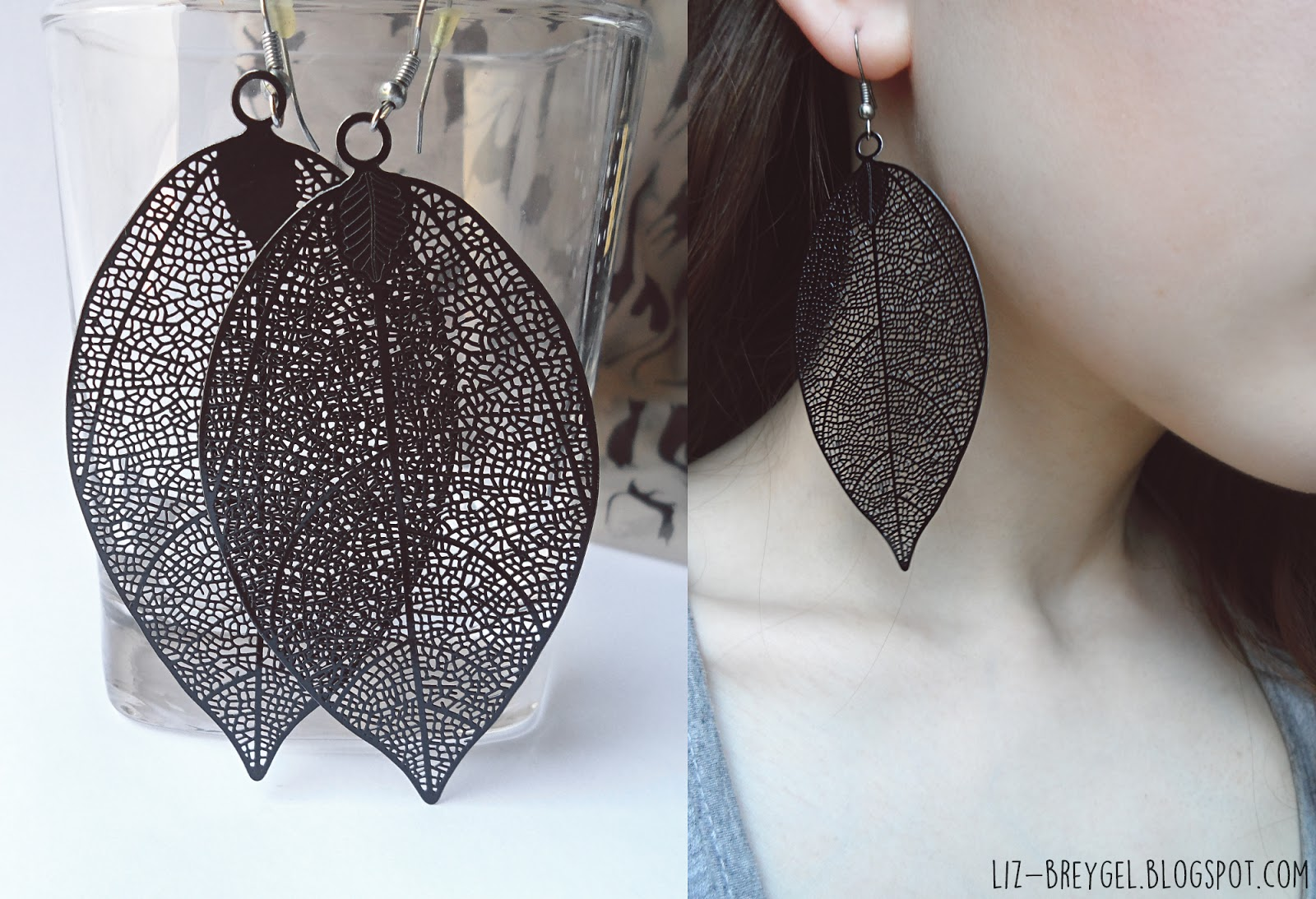 Black Filigree Leaf Earrings liz breygel blogger favorites jewelry fashion haul review