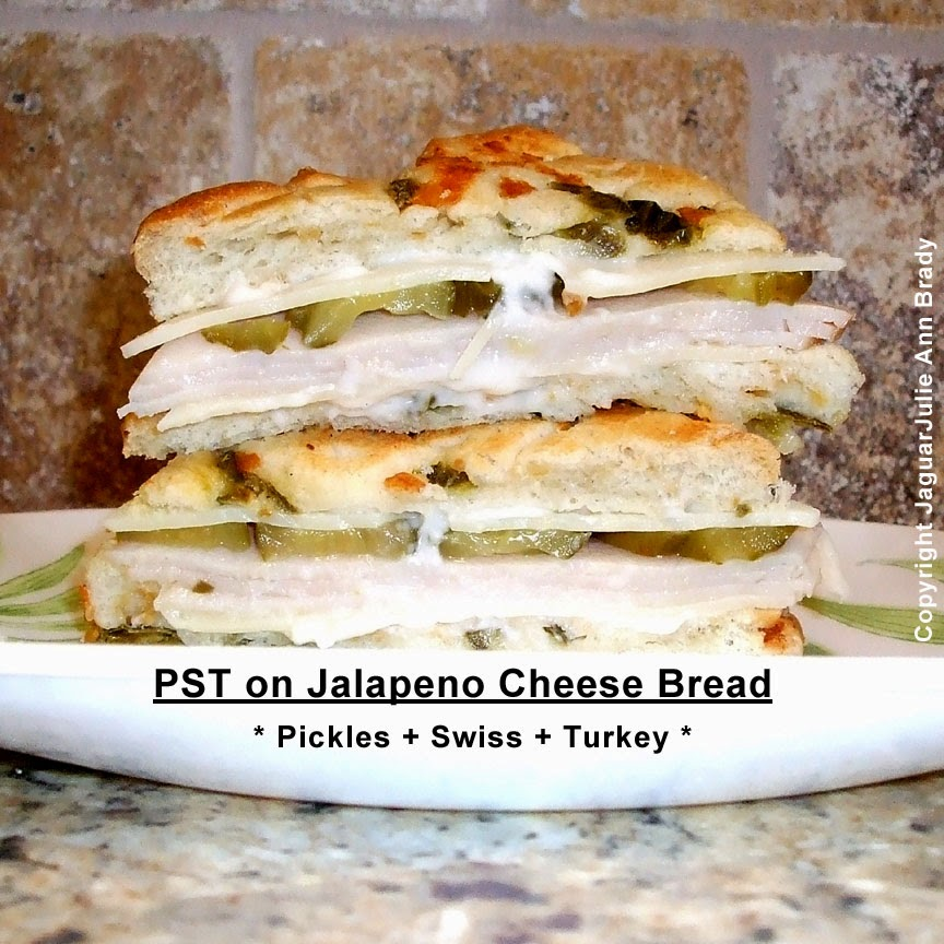 PST Pickles Swiss and Turkey on Jalapeno Cheese Bread