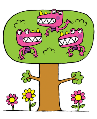 silly monsters in a tree, illustration from my ebook for kids