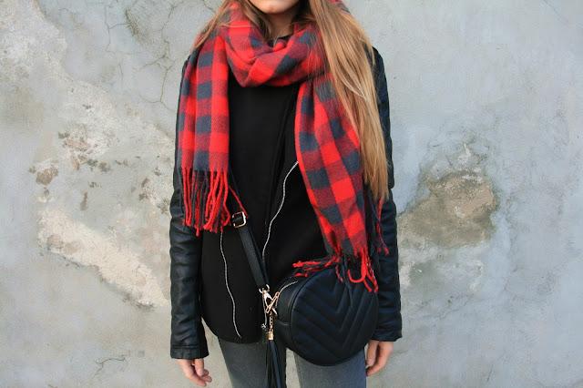 Lazy sunday outfit with checked scraf | Niedzielny luz z szalikiem w kratkę