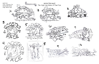 Logo Sketch Options for the family game Rooster Race by Roosterfin Games
