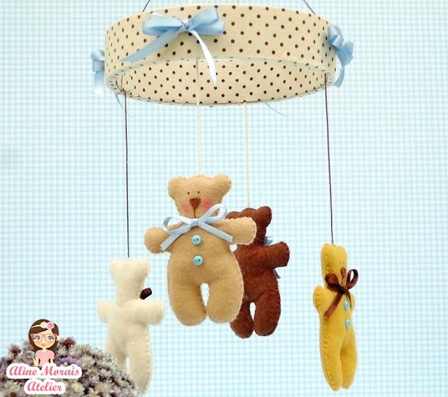 mobile de berço carrinho de bebê ursinho tilda marinheiro