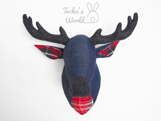stag, deer, antlers, denim, eco felt, tartan, check, lumberjack, home decor,