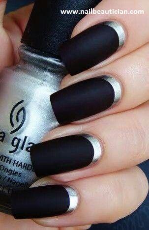 Black Matte Wedding nail art